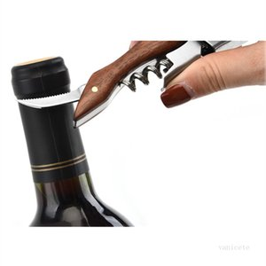 Stainless steel wine bottle opener multifunctional solid wood bottle openers wine kitchen superior quality T2I51850