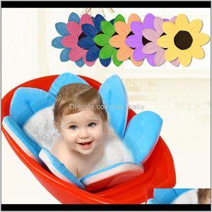Bathing Tubs Seats Born 8 Colors Petals Tub Foldable Supplies Flowers Shape Bath Mat Blanket Support Infant Shower Baby Care Lj201026 Gkp4B