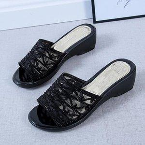 Hausschuhe Sommer Frauen Freizeitschuhe Keil Dicke Boden Mesh Strass Mutter Mode Sandalen # 4.21