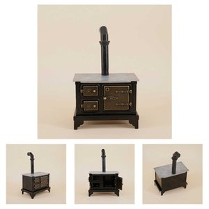 Kids Gift Ornament Mini Old-fashioned Chimney Accessories Home Decor Furniture Toy Iron Cooking Doll House Kitchen Stove