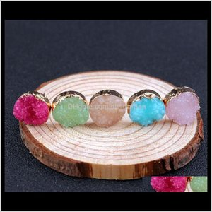 Drop Delivery 2021 Candy Gemstone Imitation Natural Stone Stud Imitate Drusy Druzy Earrings Gold Plated For Women Lady Jewelry Ps2510 O65Eo