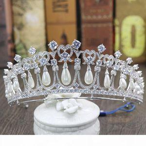 Princess Diana Crowns Bridal Tiaras With Zirconia Pearls Bridal Jewelry Girls Prom Party Performance Pageant Wedding Tiaras #BW-JS019