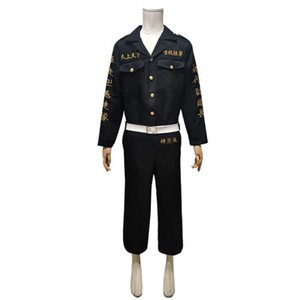 Anime Tokyo Revengers Ken Ryuguji Manji Gang Cosplay Costume Black Shirt Pants Uniform Y0913