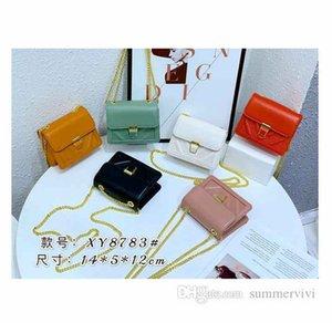 Fashion children square handbags girls PU leather single shoulder bag luxury women metals chain messenger lipstick bags purse Q0719