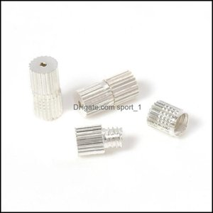 Connectors & Components Jewelry50Pcs Rhodium Screw Clasps For Necklace Bracelet Jewelry Making Connector Diy Findings Cylinder 7Mmxm Rope Ca