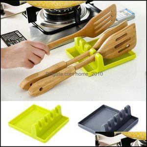 Parts Cookware Kitchen, Dining Bar Home & Gardenkitchen Aessories Tools Heat Resistant Sile Spoon Rest Ladle Utensil Organizer Rack Storage
