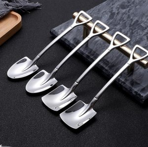 304 Stainless Steel Spoon Mini Shovel Shape Coffee Spoons Cake Ice Cream Desserts Scoop Fruits Watermelon Scoops GWF6362