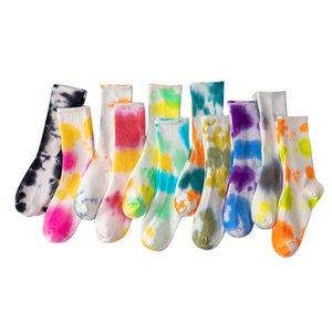 2021new Trendy Tie Dye Custom Funny Puffed Basketball Stockings Women Men Socks