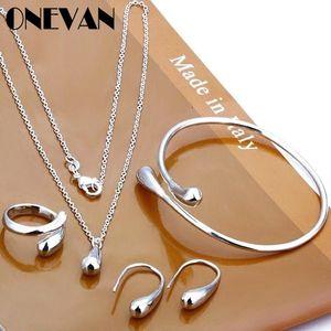 Exquisite Eardrop Shape Pendant Neckalce Water Drop Jewelry Set Hand Chain Bracelet Necklaces Ring Hook Oval Earings For Women Earrings & Ne