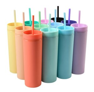 16oz Acrylic Skinny Tumblers Matte Colors Double Wall Water Bottle Coffee Drinking Plastic Tumbler Sippy Cup With HDD0031