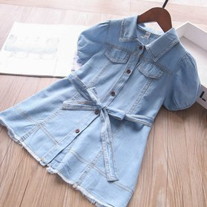 Girl's Dresses Baby Girls Casual Clothes Wear Summer Denim Short Sleeve Soft Kids 2-7Y B5026