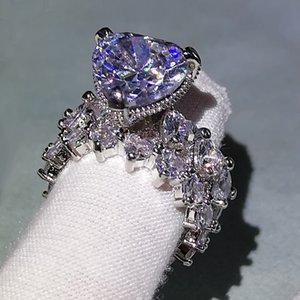 Luxury Mens Wedding Rings Fashion Stones Gemstone Engagement Ring For Women Full Diamond Heart Ring Jewelry 2 Peice Set