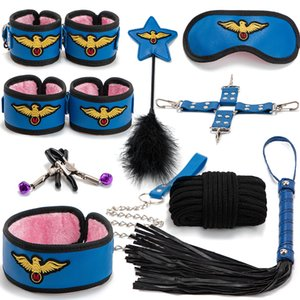 Bestco 18+ 10pcs Bondage Sex Sets Under Bed Restraint Accessories For Adult Couples Game PU leather Handcuffs Rope Whip Collar Kit Toys