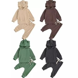 Spring INS Fashions Baby Girl Boy Clothing Sets Knitted Cotton Cat Hoodies with Straps Pants Autumn Winter Infant Clothes Suits Outfits