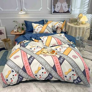 Simplicity Bedding Set Cat Letter Collision Pattern Duvet Cover Cartoons Bed Sheet Pillowcase King Size 220x240 Family Bedroom