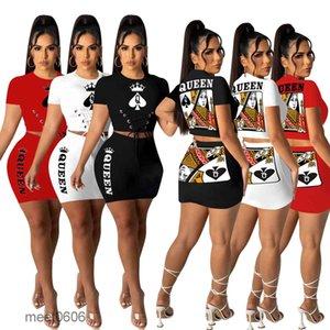 Women Two Piece Dress 2021 summer New Designer Fashion large women's leisure round neck Short sleeve spade Q playing card queen skirt suit meet0606