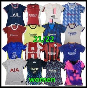 Womens Futebol Jerseys Designer camisetas Real Madrid Mulheres vestidos vestidos 2021/2022 Soccerr jersey futebol jerseys maillot de pé camiseta des fútbol