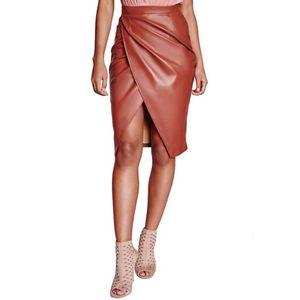 Autumn Winter Women Frint Split PU Leather High Wasit Bodycon Pencil Skirts For Ladies Midi Knee Length Skirt #1122