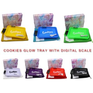 Cookies Glow Tray with Digital Scale 2in1 Rechargeable Rolling Plate Vape Device Changeable LED Colors Rollers for Dry Herb Tobacco
