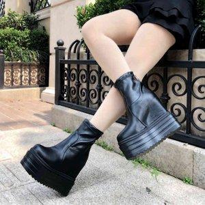 Botas cortas para mujer, zapatos moda, fondo grueso, cuas estilo britnico, bota de plataforma