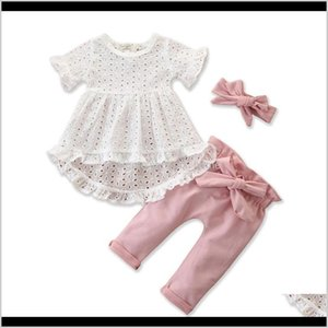 Layette Set Baby Girls Clothes Hollow Out Lace Flared Ruffled Sleeve Top Shirt White Infant Pink Big Bow Elastic Waist Pant Headbnad 5 2Avvd