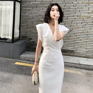 Sweet White Batwing Sleeve Office Lady Straight Dresses Elegant Slim Short Skirt Formal Prom Gown Evening Party Satin Dress Ethnic Clothing