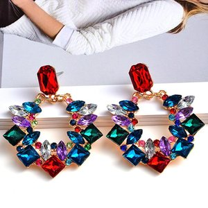 Dangle & Chandelier Fashion Earrings For Women Colorful Rhinestone Drop Trendy Statement Jewelry Wedding Engagement Party Brincos