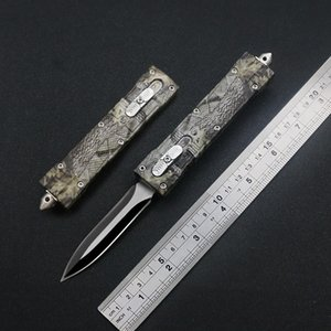 440 Camouflage Leaf Branch Pattern Automatic Knife Outdoor Camping Conveniently Carry EDC Tools Free Nylon Cover Holiday gift