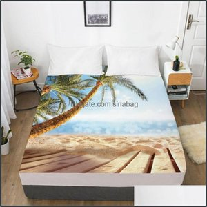 Sheets Bedding Supplies Textiles Home Gardensheets & Sets Elastic Fitted Sheet Bed With An Band 160X200 180 200 150X200 Mattress Er 1Pc Sand