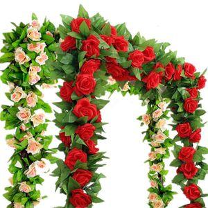 Decorative Flowers & Wreaths 2pcs bag--2.4m Artificial Silk Rose Flower Ivy Green Leaf Vine Garland Wedding Fake Home Decor