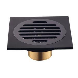 Современный чистый черный невидимый душ для душа / ванная комната Балкон использует латунный материал Быстрое дренажная плитка вставка квадратных стоков 609 R2