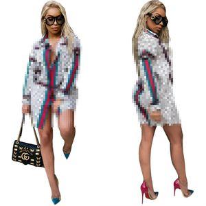 Free Ship 2021 Women Fashion Print Lapel Neck Long Sleeved Shirt Dresses Casual Slim Club Party Short Mini Dress 5XL Plus Size