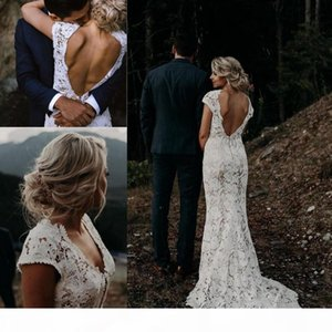 Garden Boho Lace Wedding Dresses 2020 Vintage V Neck Country Beach Mermaid Bridal Gowns Vestidos De Novia Low Back