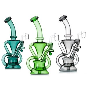2021 Hookah Glass Bong Dabber Rig Recycler Pipes Water Bongs Smoke Pipe 14.4mm Female Joint with Quartz Banger