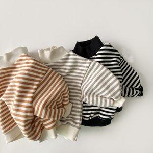 Kids Baby Girls Striped Sweatshirt Tops Autumn Winter New Thicken Warm High-neck Cotton Striped Hoodie Toddler Boys Tops 210413