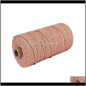 Yarn Clothing Fabric Apparel Drop Delivery 2021 M Rame Cotton Hanging Rope Craft Cord Crafts Knitting 100M For Party Wedding Dfecoration Acce