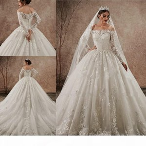 Shiny Lace Applique Puffy Wedding Dress Off Shoulder Long Sleeves Lace-up Bridal Gowns New Arrival Western