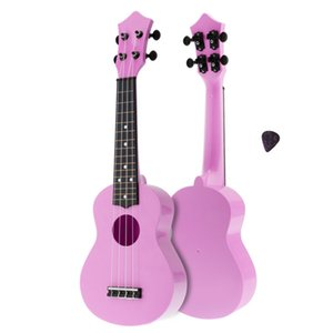 21 Inch Soprano Ukulele Colorful Acoustic 4 Strings Hawaii Guitar ABS Plastic Instrument for Children and Music Beginner