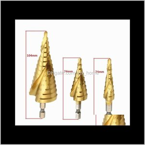 Bits Power Tools Home & Garden Drop Delivery 2021 3 Pcs 4-12 20 32Mm Hss Spiral Grooved Center Solid Carbide Mini Aessories Titanium Step Con