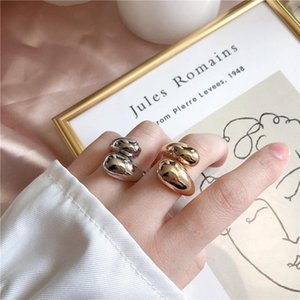 Silver And Gold High Sense Staggered Hollow Smooth Trend Irregular Curve Opening Ring Fashion Handmade Gift Wedding Rings