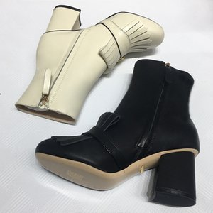 Luxury Designer womens Tassel Ankle Boots Top quality 100% Cowskin Genuine Leather fashion Button Shoes Round Toes 7.5CM Thick High heel