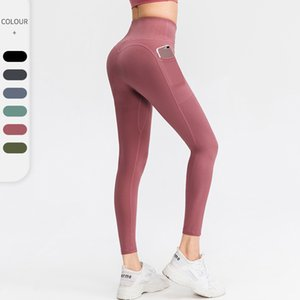 Womens Yoga Pants European Size Sports Fitness Active Gym Leggings High Waisted Workout Tights With Pockets