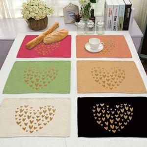 Color Eye Lash Letter Pattern Cotton Linen Pad Dining Table Mats Bowl Cup Mat Kitchen Placemat Home Decor ML0017 & Pads