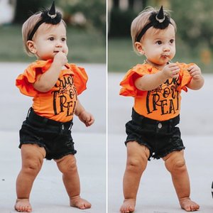 XYBB INS Summer Little Girls Clothing Sets Ruffles Rompers with Jeans Shorts Pants 2Pieces Set Cotton Children Bountique Kids Baby Outfits