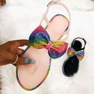 Fashion Bow Slippers Women Sandals Flat Slides Casual Beach Flip Flops Summer Jelly Shoes Crystal Sandals1 YJL1