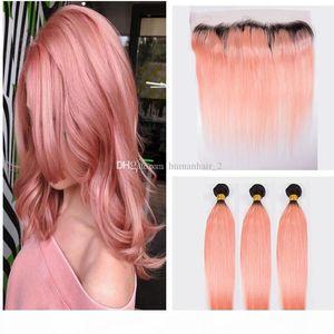 Ombre 헤어 익스텐션 2 톤 # 1B 로즈 골드 옴 브레 브라질 스트레이트 버진 인간의 머리카락 핑크 13x4 ''레이스 프론타가있는 묶음