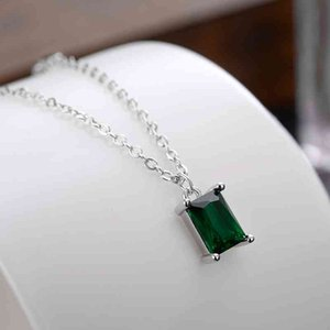 Necklace S925 Silver Chinese Style Simple Fashion Emerald Female Geometric Square Zircon Pendant Small Waist Clavicle Chain