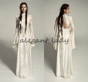 Meital Zano Great Victoria Medieval Wedding Gown with Bell Sleeves Vintage Crochet Lace High Neck Gothic Queen Wedding Dresses