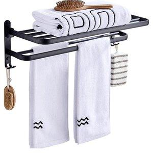 Towel Rack Bathroom Holder Matte Black Aluminum Organizer Hanger Wall Mounted Folding Locker Room Storage Shelf Hook Accessories