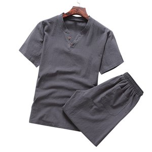 2шт летние футболки хлопчатобумажные льняные наборы мужские повседневные трексуиты китайский стиль корейской моды печатает одежду